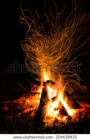 Fire with sparks in countryside - stock photo