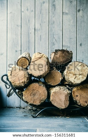 Fire wood.  Home living concept.  - stock photo
