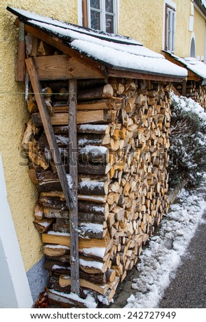 Fire woods in a shed during the winter - stock photo