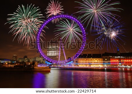 Fire works above London Eye