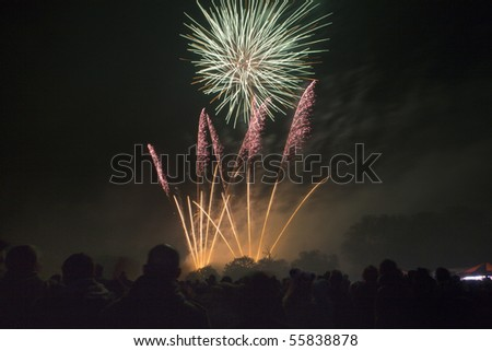 fire works going of into the nights sky - stock photo