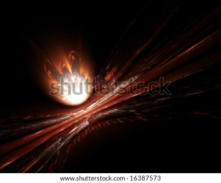 fireball fractal render - stock photo