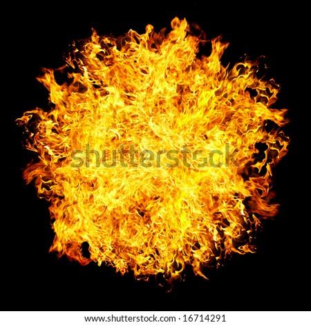 Fireball on a black background ... - stock photo