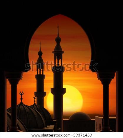 Fireball sunset behind two minarets - stock photo