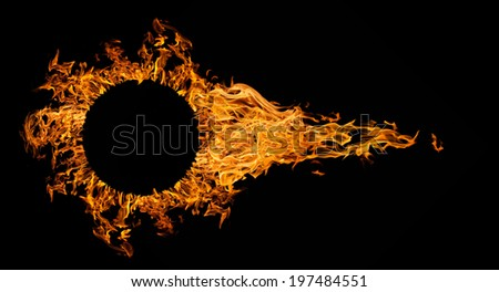 fireball with circle frame isolated on black background