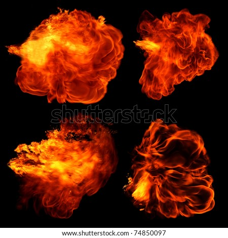 Fireballs isolated on black - stock photo