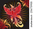 Firebird, mythical creature from Russian tales, with background of rays and fantastic flowers, illustration - stock photo