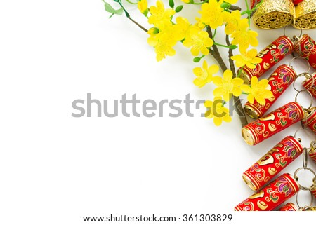 Firecrackers and branch of blooming apricot as symbols of Chinese New Year - stock photo