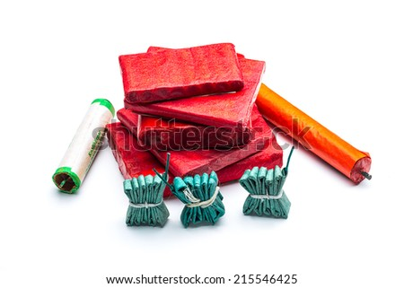 firecrackers assortment for the New Year's Eve - stock photo
