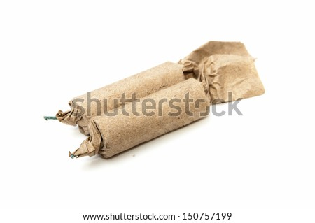 firecrackers dynamite on a white background - stock photo