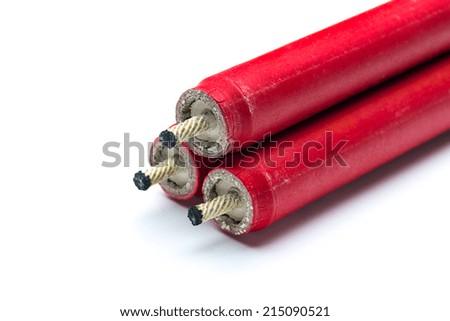 firecrackers pyrotechnics on white background - stock photo