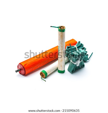 firecrackers set assortment for New Year's Eve - stock photo