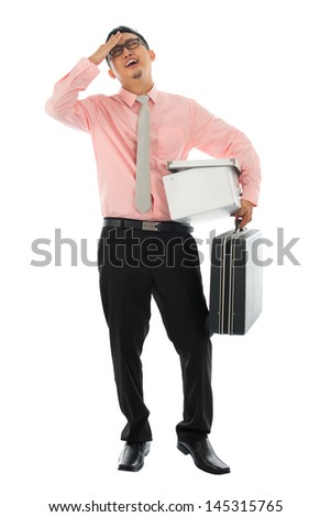 Fired Asian corporate employee holding his suitcase and belongings in a cardboard box, Isolated on white background. - stock photo