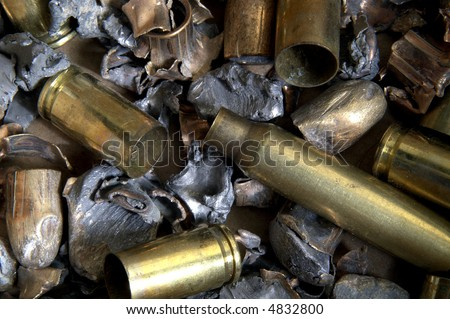 Fired bullets and shell casings, macro - stock photo