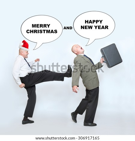 Fired businessman and angry boss on end of the year. Downsizing before christmas. Funny picture from office. Picture with speech bubbles for your text.  - stock photo