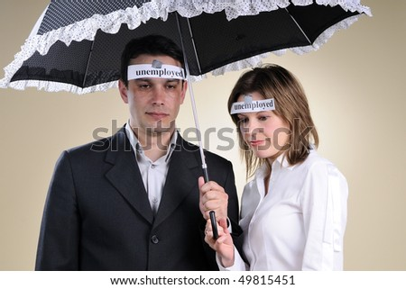 fired man and woman - stock photo