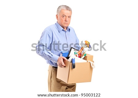 Fired man carrying a box of personal items isolated on white background - stock photo