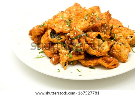Fired spicy Soy protein  - stock photo