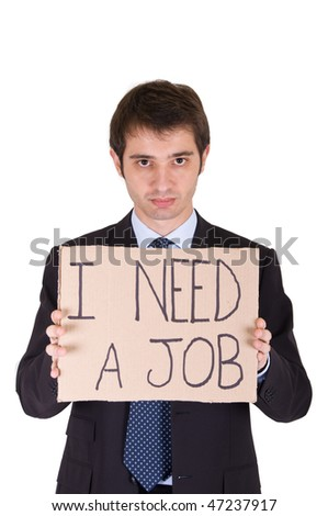 fired young manager looking for a job - stock photo