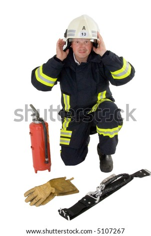 firefighter at work - stock photo