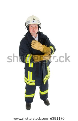 firefighter before white background - stock photo
