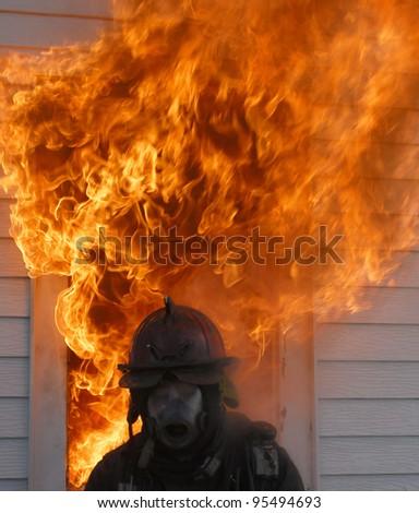 firefighter escape - stock photo