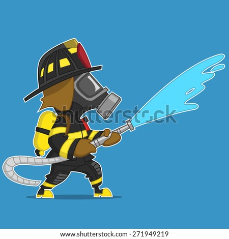 firefighter extinguishes. raster illustration.  - stock photo