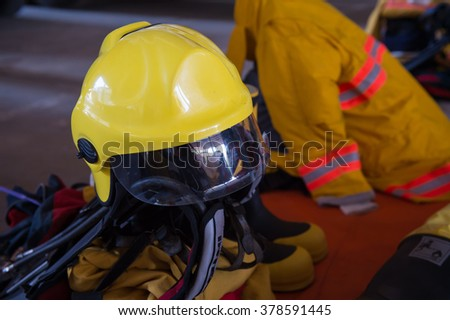 firefighter helmet and suit