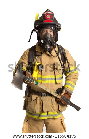 Firefighter holding mask and airpack fully protective suit holding ax on isolated white background - stock photo