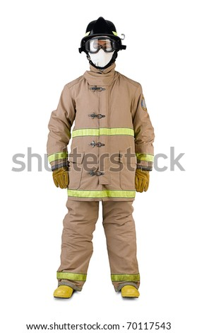 firefighter in a fireman uniform - stock photo