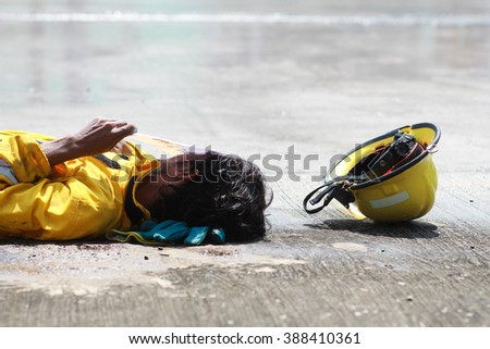 Firefighter injured - stock photo