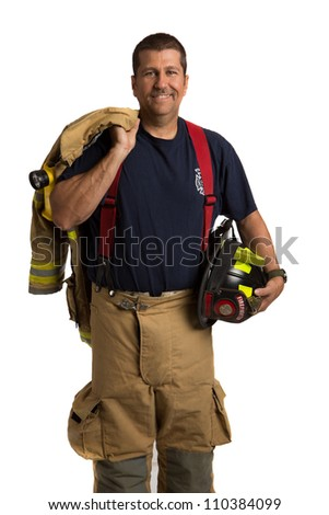 Firefighter Off Duty Standing portrait isolated on white Background - stock photo