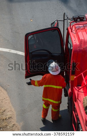 firefighter on the top view - stock photo