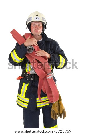 firefighter ready for work - stock photo