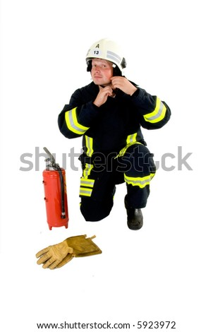 firefighter ready to go - stock photo