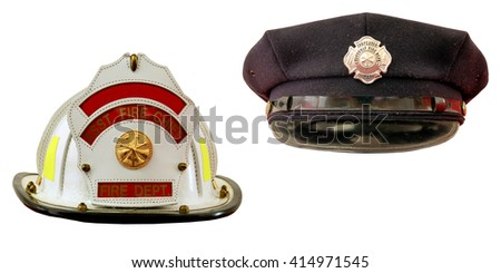 Firefighter's dress and field hats isolated over a white background - stock photo