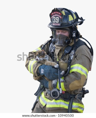 Firefighter Saves Cat - stock photo