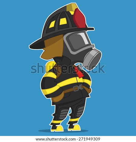 firefighter stands. raster illustration.  - stock photo