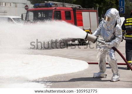 Firefighter training - stock photo