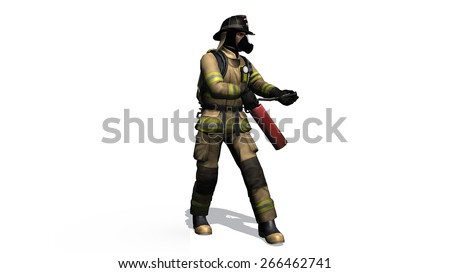 Firefighter w in action - separated on white background