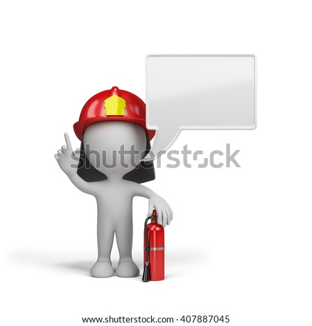 Firefighter with a red fire extinguisher. 3d image. White background.