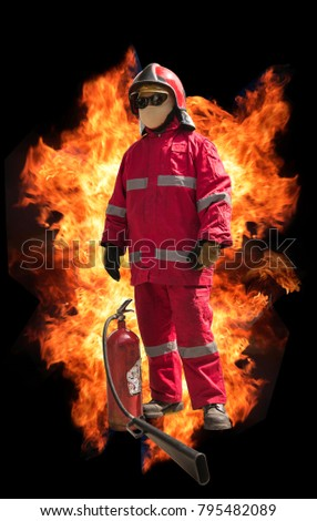 Firefighter with mask and fully protective suit on fire background