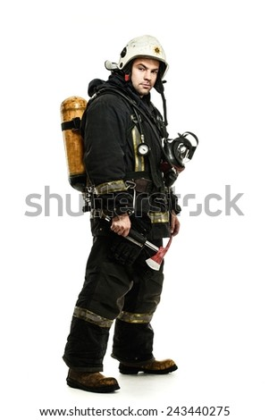 Firefighter with oxygen balloon isolated on white  - stock photo