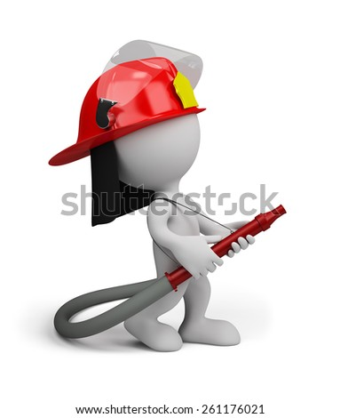 Firefighter with water gun does the job. 3d image. White background. - stock photo
