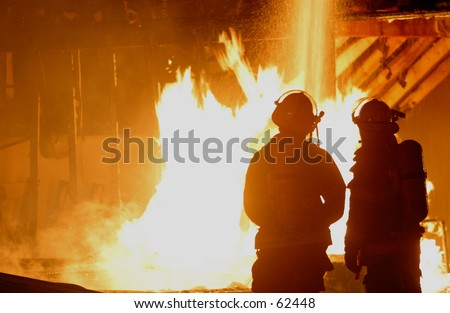 firefighters and blaze 2 - stock photo