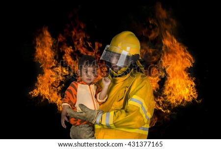 Firefighters brave kids can help out a fire accident in a timely manner, he is a hero./made  to the concept - stock photo