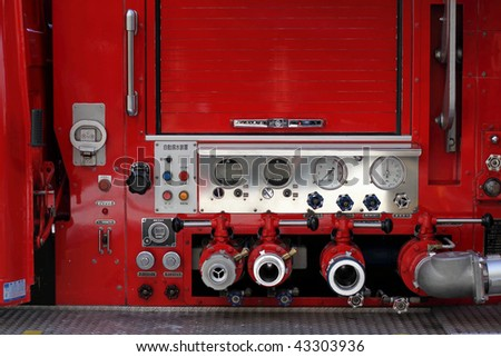 Firefighters car equipment - stock photo