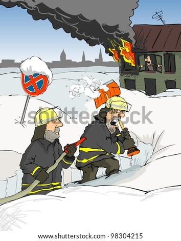 Firefighters go through deep snow to a burning home - stock photo