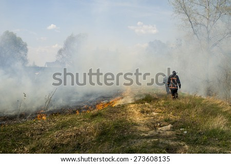 firefighters in the smoke forest plantation near residential buildings - stock photo