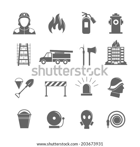 Firefighting black silhouette icons set of fire protection equipment isolated  illustration. - stock photo